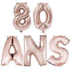 Ballon anniversaire rose gold métallique 80 ans aluminium (x1) REF/BA3000-BA3008