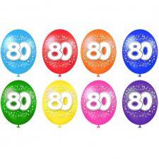Ballon anniversaire 80ans multicolore en latex (x8) REF/BAL13