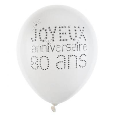 Ballon joyeux anniversaire 80 ans blanc 23cm (x8) REF/4450