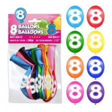 Ballon anniversaire chiffre 8 (x8) REF/BALBC8