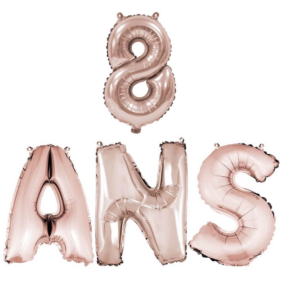 Ballon anniversaire 8ans rose gold en aluminium