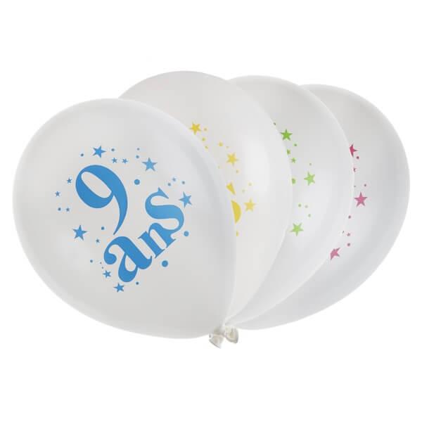 Ballon anniversaire 9 ans blanc et multicolore en latex