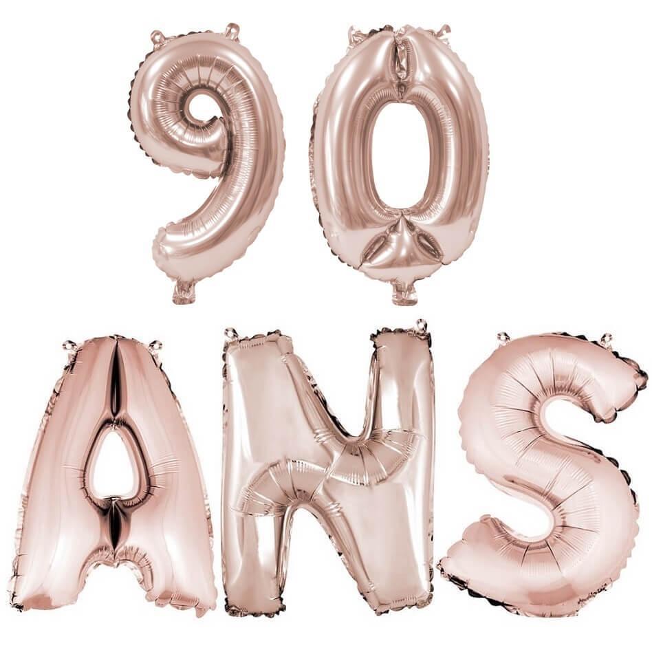 Ballon anniversaire 90 ans rose gold en aluminium