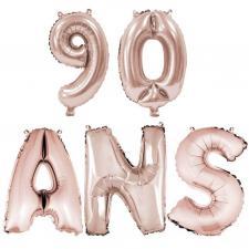 Ballon anniversaire rose gold métallique 90 ans aluminium (x1) REF/BA3000-BA3008