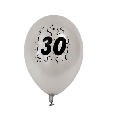 Ballon anniversaire nacré argent 30ans (x8) REF/BAL430