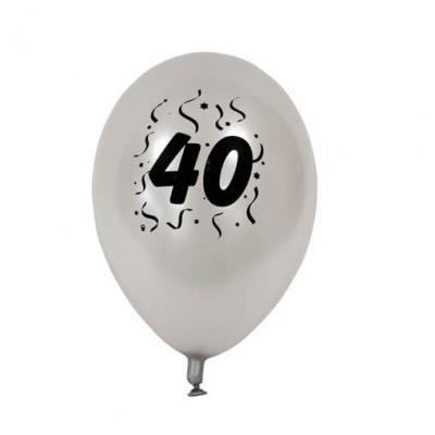Ballon anniversaire nacré argent 40ans (x8) REF/BAL440