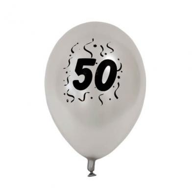 Ballon anniversaire nacré argent 50ans (x8) REF/BAL450