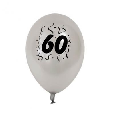 Ballon anniversaire nacré argent 60ans (x8) REF/BAL460