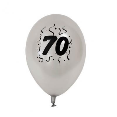 Ballon anniversaire nacré argent 70ans (x8) REF/BAL470