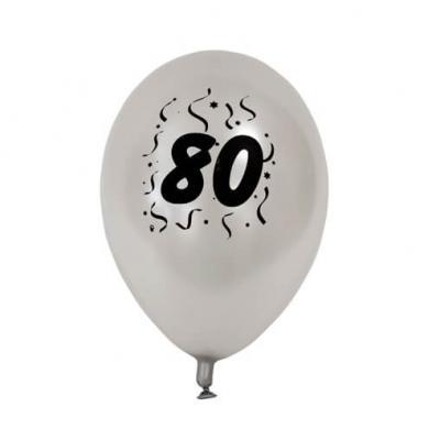 Ballon anniversaire nacré argent 80ans (x8) REF/BAL480