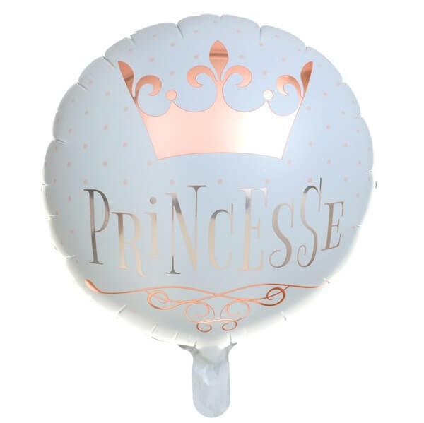 Ballon anniversaire blanc et rose gold princesse en aluminium