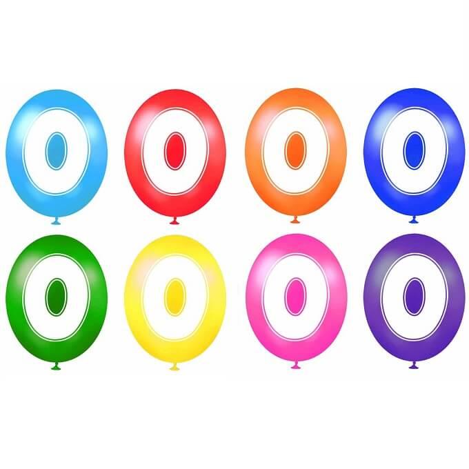 Ballon anniversaire chiffre 0 en latex multicolore