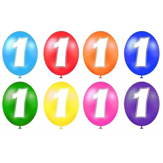 Ballon anniversaire chiffre 1 en latex multicolore
