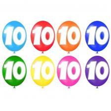 Ballon anniversaire chiffre 10 multicolore en latex 30cm (x8) REF/BALBC10