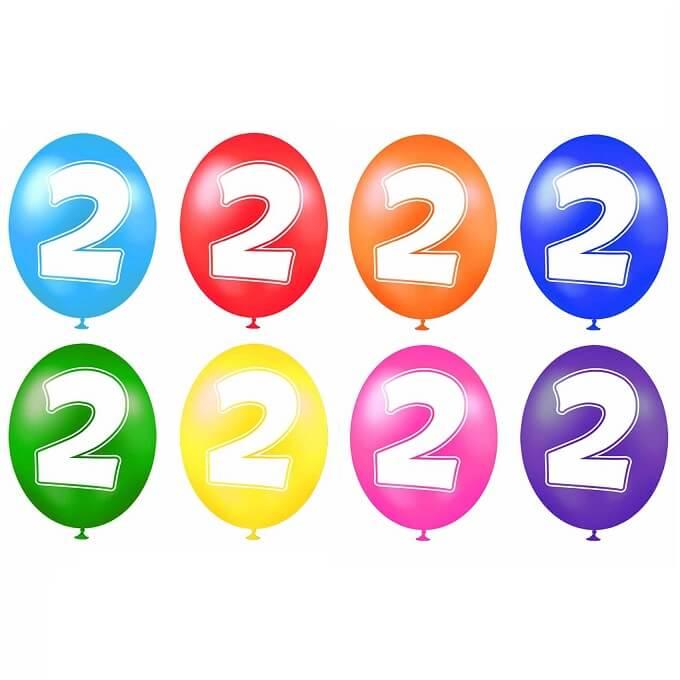 Ballon anniversaire chiffre 2 en latex multicolore