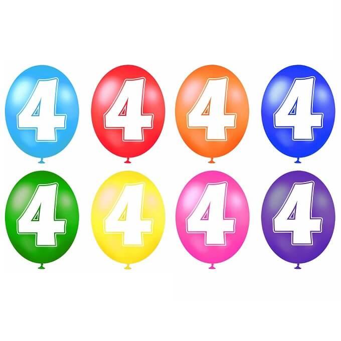Ballon anniversaire chiffre 4 en latex multicolore