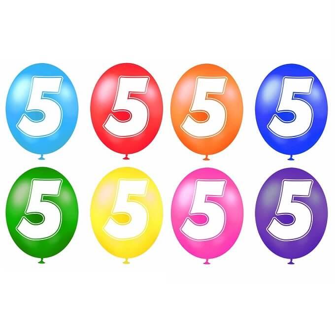 Ballon anniversaire chiffre 5 en latex multicolore