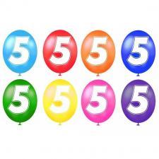 Ballon anniversaire chiffre 5 (x8) REF/BALBC5