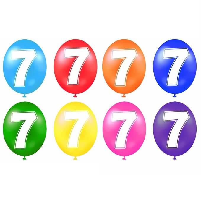 Ballon anniversaire chiffre 7 en latex multicolore