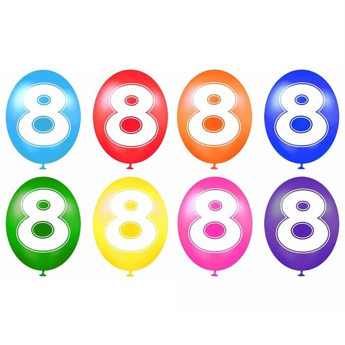 Ballon anniversaire chiffre 8 en latex multicolore