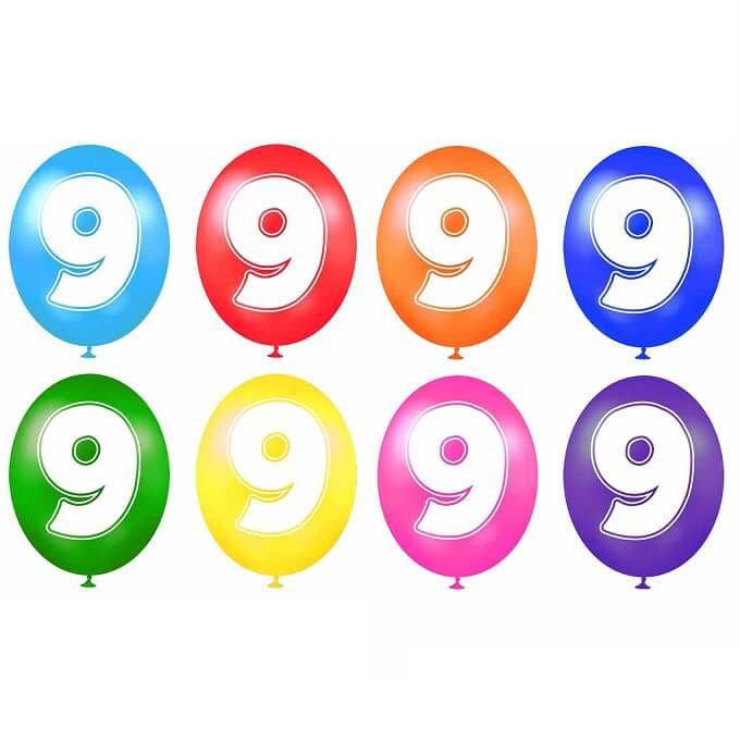 Ballon anniversaire chiffre 9 en latex multicolore