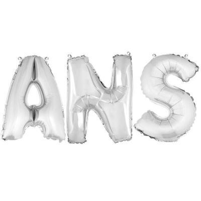 Ballon métallique argent, lettres ANS (x1) REF/BA3008