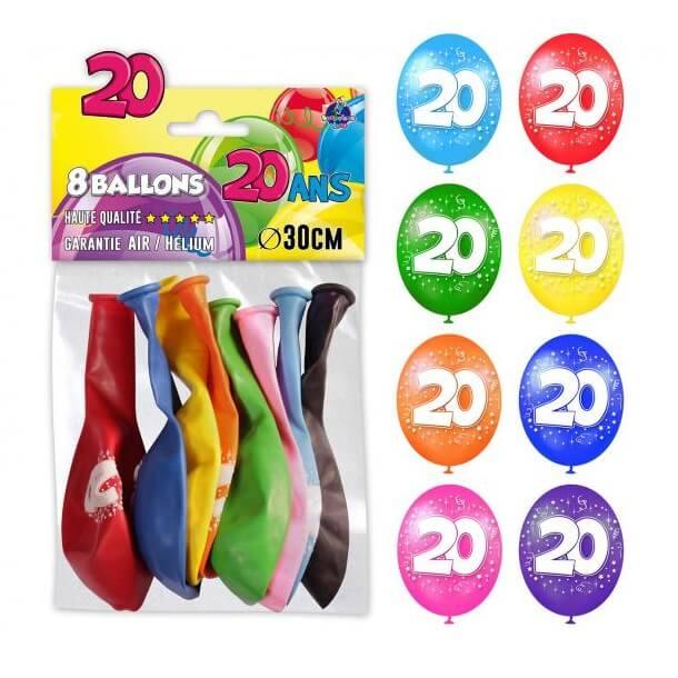 Ballon anniversaire multicolore 20ans