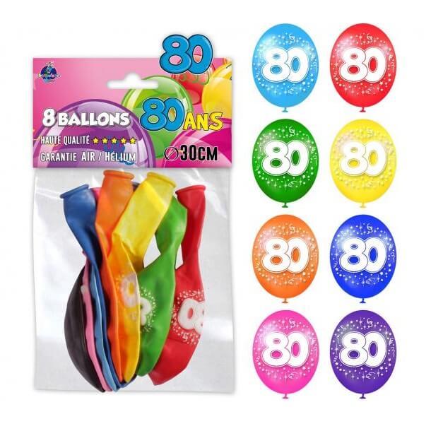 Ballon anniversaire multicolore 80ans
