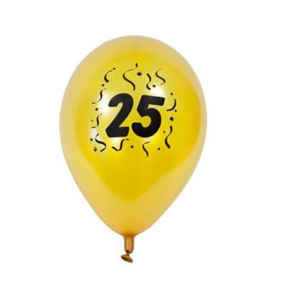 Ballon anniversaire nacré or 25ans (x8) REF/BAL425