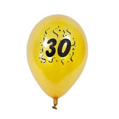 Ballon anniversaire nacré or 30ans (x8) REF/BAL430