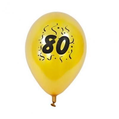 Ballon anniversaire nacré or 80ans (x8) REF/BAL480