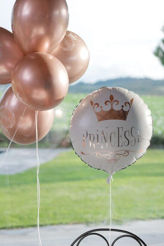 Ballon anniversaire princesse blanc et rose gold aluminium