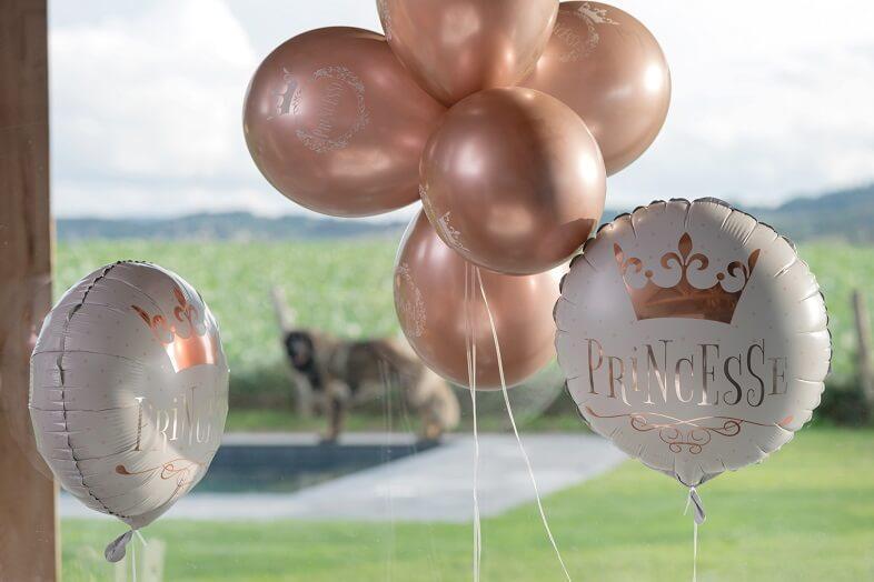 Ballon anniversaire princesse blanc et rose gold en aluminium