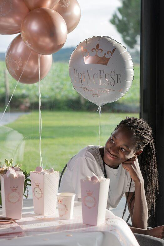 Ballon anniversaire princesse blanc rose gold en aluminium