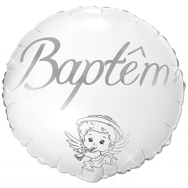 Ballon bapteme angelot blanc et argent en aluminium