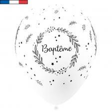 Ballon Baptême français en latex blanc 30cm (x8) REF/29222