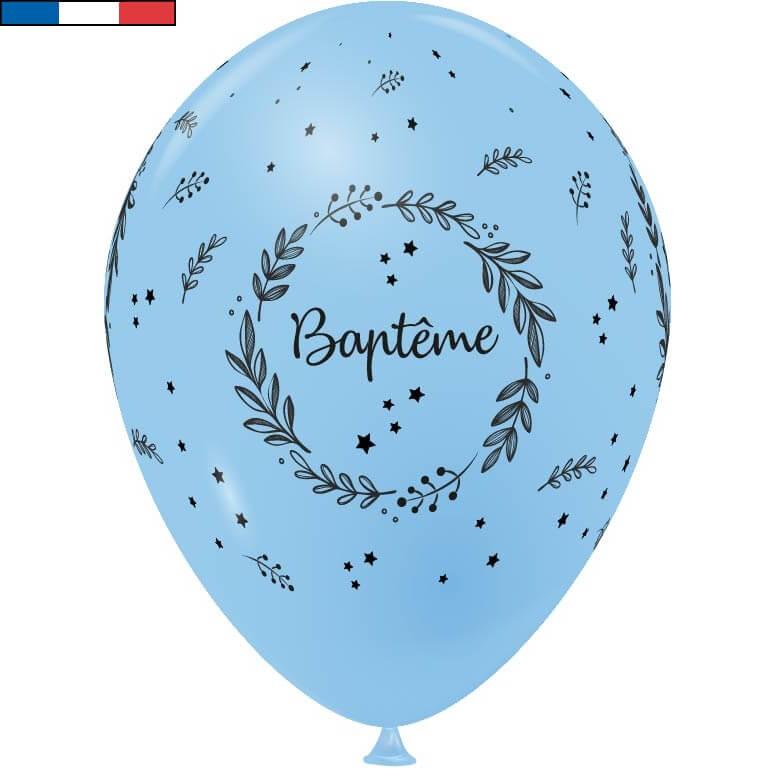 Ballon bapteme bleu ciel de fabrication francaise