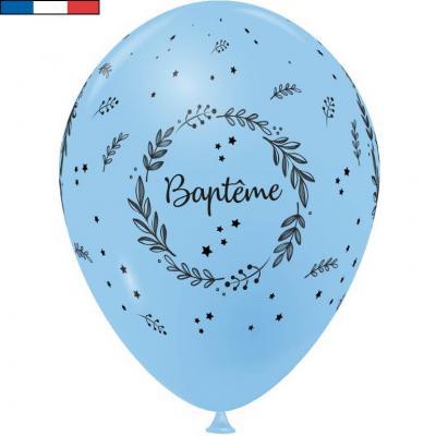 Ballon Baptême français en latex bleu pâle 30cm (x8) REF/29222