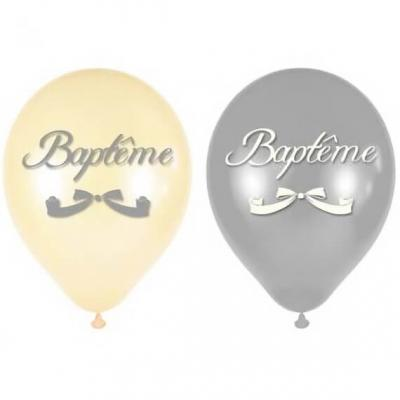 Ballon Baptême blanc et argent en latex 30cm (x8) REF/BALB