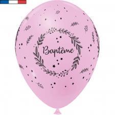 Ballon Baptême français en latex rose 30cm (x8) REF/29222