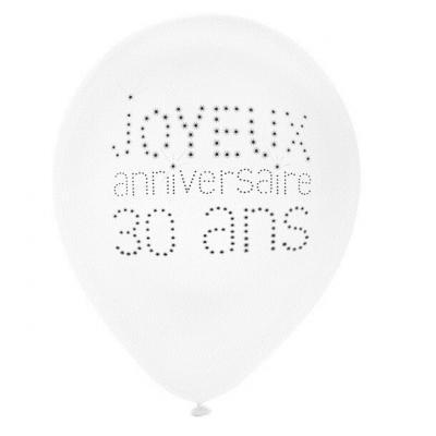 Ballon joyeux anniversaire 30 ans blanc 23cm (x8) REF/4450