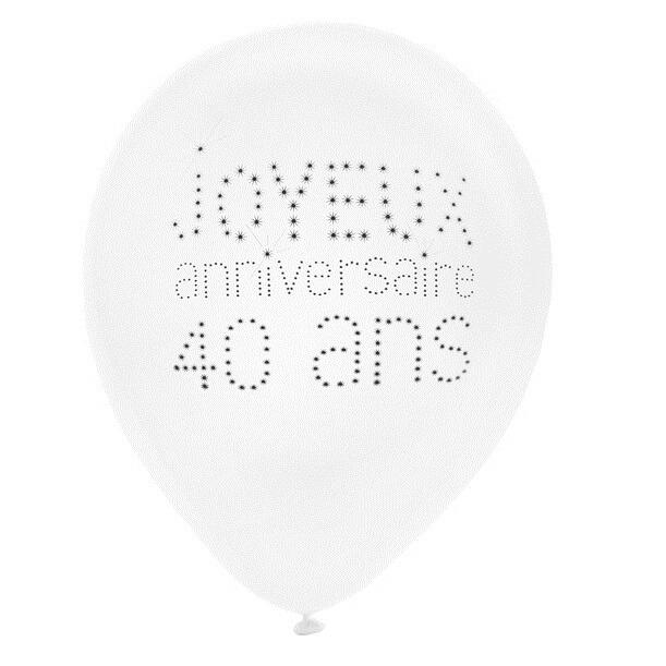 Ballon blanc anniversaire 40ans