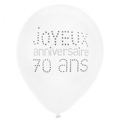 Ballon joyeux anniversaire 70 ans blanc 23cm (x8) REF/4450