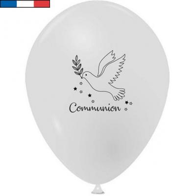 Ballon Communion français en latex blanc 25cm (x10) REF/29239