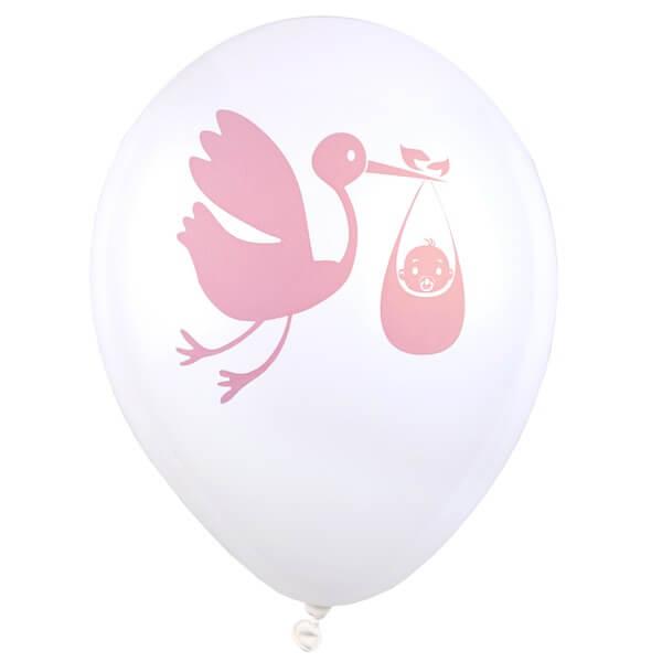 Ballon blanc et rose en latex baby shower