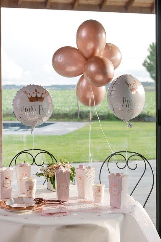 Ballon blanc et rose gold princesse en aluminium