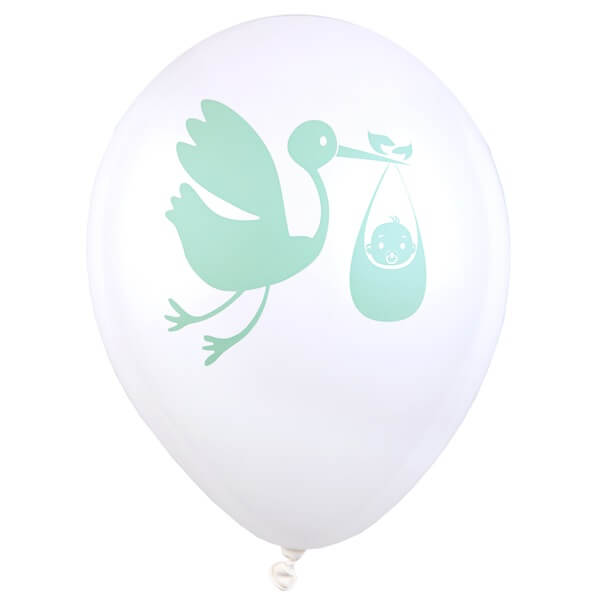 Ballon blanc et vert en latex baby shower