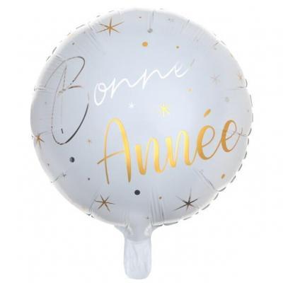 Ballon Bonne Année blanc et or de 45cm pour le nouvel an (x1) REF/6980