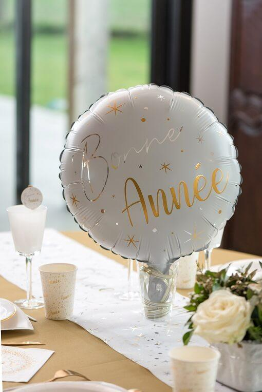 Ballon bonne annee blanc et or nouvel an