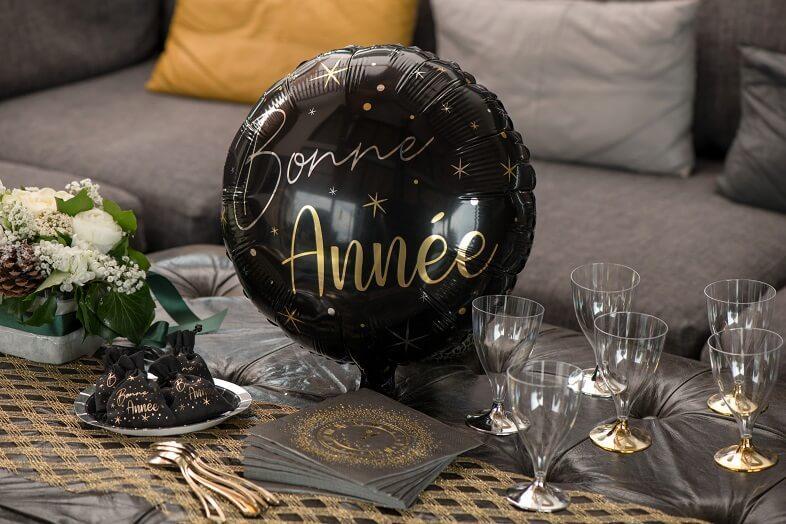 Ballon bonne annee noir et dore nouvel an